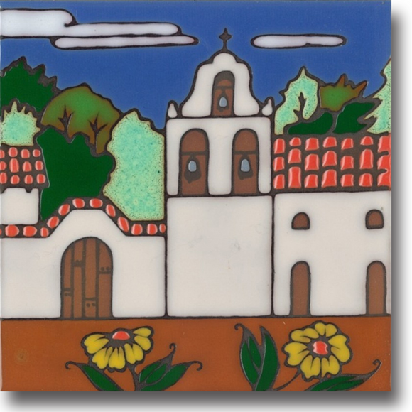 Ceramic tile with original art image of Mission La Purisima Concepcion hand painted & kiln fired creating vivid, jewel-like colors. American made, hand crafted tile has a hardboard backing making it suitable as a trivet, original wall art or without the backing,  combine several to form a tile mosaic back splash.