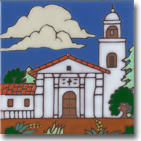 Ceramic tile with original art image of Mission Santa Cruz hand painted & kiln fired creating vivid, jewel-like colors. American made, hand crafted tile has a hardboard backing making it suitable as a trivet, original wall art or without the backing,  combine several to form a tile mosaic back splash.