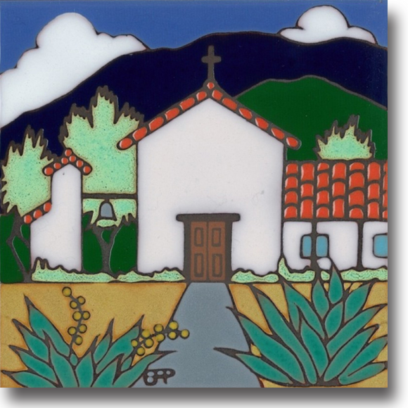 Ceramic tile with original art image of Mission Soledad hand painted then kiln