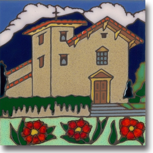 Ceramic tile with original art image of Mission San Jose hand painted & kiln fired creating vivid, jewel-like colors. American made, hand crafted tile has a hardboard backing making it suitable as a trivet, original wall art or without the backing, several can be combined to form a tile mosaic back splash.