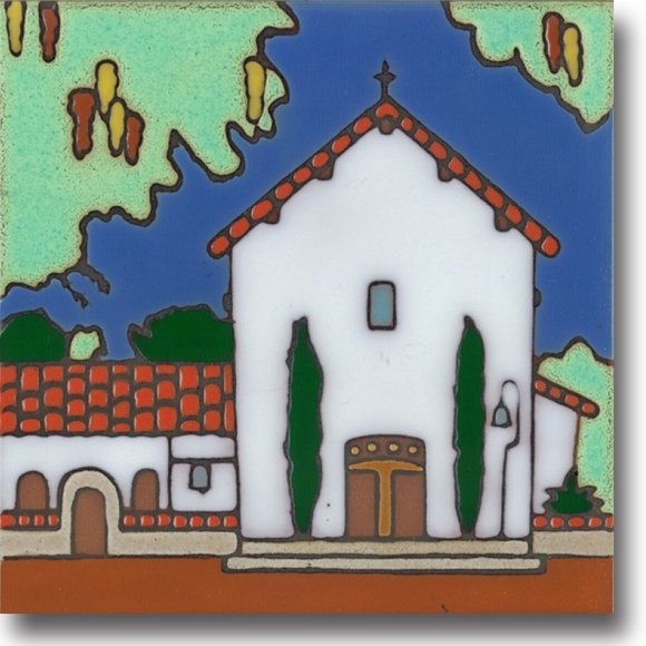 Ceramic tile with original art image of Mission San Miguel Arcangel hand painted & kiln fired creating vivid, jewel-like colors. American made, hand crafted tile has a hardboard backing making it suitable as a trivet, original wall art or without the backing,  combine several to form a tile mosaic back splash.