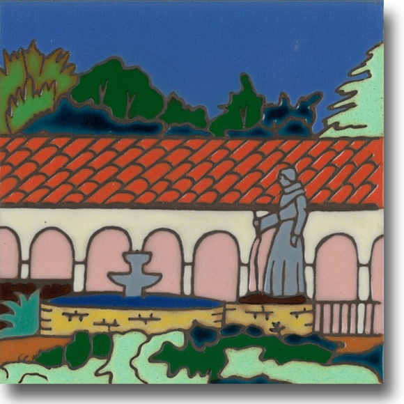 Ceramic tile with original art image of Mission San Fernando Rey de Espana hand painted then kiln fired creating vivid, jewel-like colors. American made, hand crafted tile has a hardboard back suitable as a trivet, original wall art or without the backing, several can be combined to form a tile mosaic back splash.
