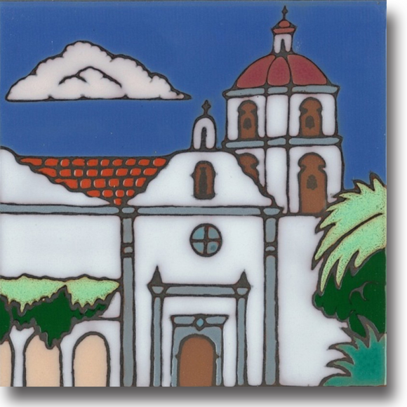Ceramic tile with original art image of Mission San Luis Rey de Francia hand painted & kiln fired creating vivid, jewel-like colors. American made, hand crafted tile has a hardboard backing making it suitable as a trivet, original wall art or without the backing,  combine several to form a tile mosaic back splash.