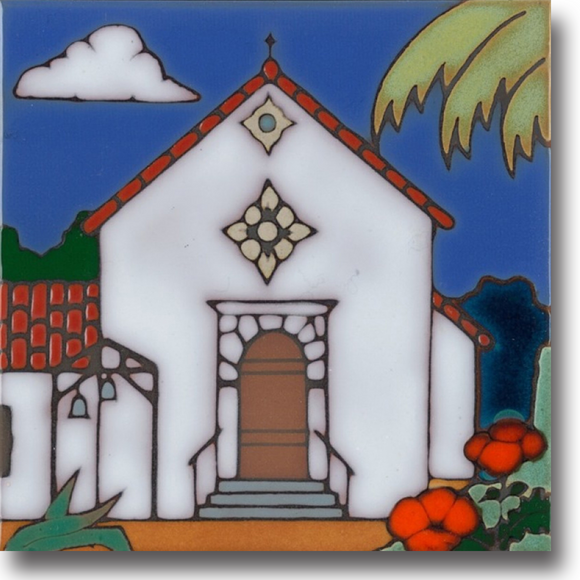 Ceramic tile with original art image of Mission San Rafael Arcangel hand painted & kiln fired creating vivid, jewel-like colors. American made, hand crafted tile has a hardboard backing making it suitable as a trivet, original wall art or without the backing,  combine several to form a tile mosaic back splash.