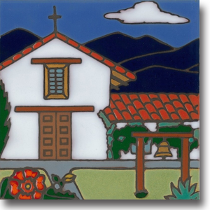 Ceramic tile with original art image of Mission San Francisco Solano (Sonoma) hand painted & kiln fired creating vivid, jewel-like colors. American made, hand crafted tile has a hardboard back making it suitable as a trivet, original wall art or without the backing,  combine several to form a tile mosaic back splash.