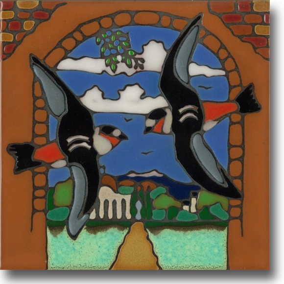 Ceramic tile with original art image of Mission San Juan Capistrano Swallow hand painted & kiln fired creating vivid, jewel-like colors. American made, hand crafted tile has a hardboard backing making it suitable as a trivet, original wall art or without the backing,  combine several to form a tile mosaic back splash.