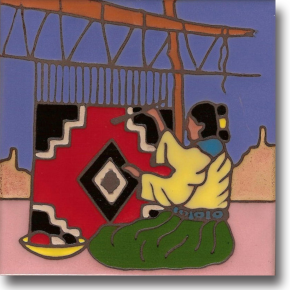 Ceramic tile with original art image of a Native American Navajo Weaver hand painted & kiln fired creating vivid, jewel-like colors. American made, hand crafted tile has a hardboard backing suitable as a trivet, original wall art or without the backing, several can be combined to form a tile mosaic back splash.
