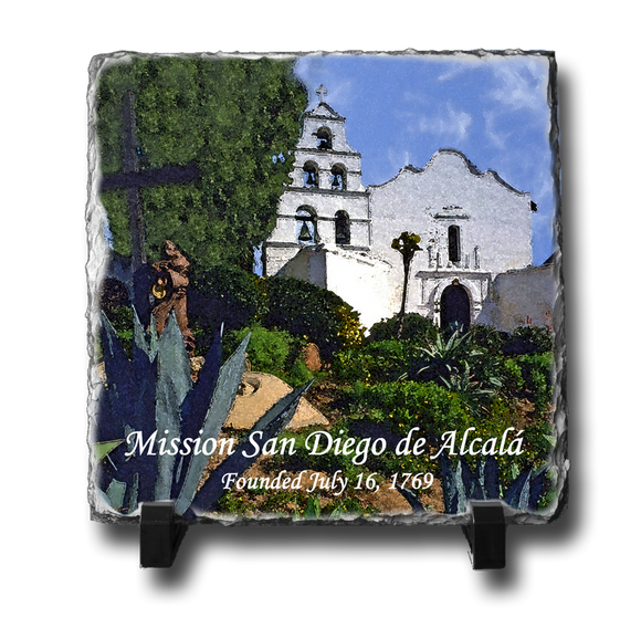 A square slate with an original image of Mission San Diego de Alcala (San Diego) in a stunning and natural presentation.