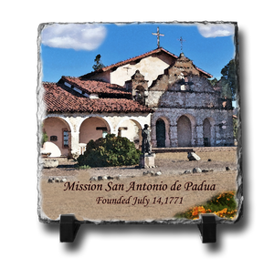 A square slate with an original image of Mission San Antonio de Padua (San Antonio) in a stunning and natural presentation.