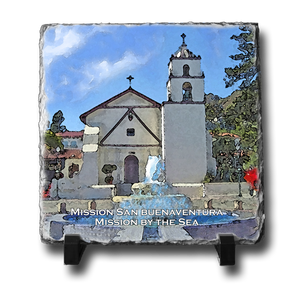 A square slate with an original image of Mission San Buenaventura (San Buenaventura) in a stunning and natural presentation.