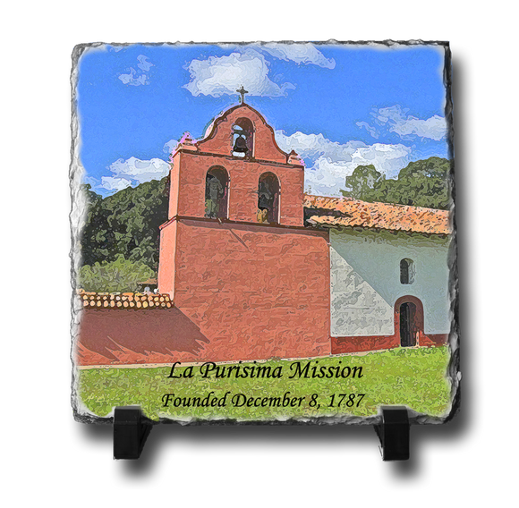 A square slate with an original image of Mission La Purisima Concepcion (La Purisima) in a stunning and natural presentation.