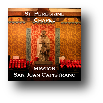Small square ceramic tile with magnet and an original image of St. Peregrine Chapel at Mission San Juan Capistrano (San Juan Capistrano)