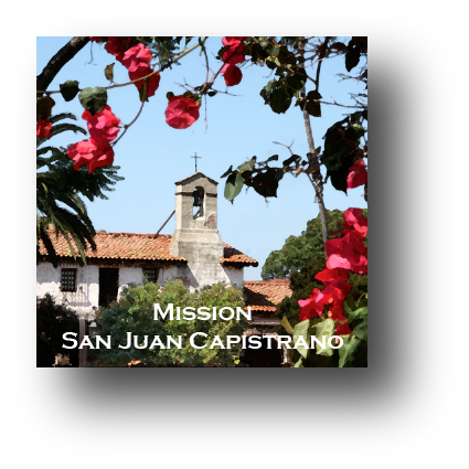 Small square ceramic tile with magnet and an original image of the Bell Tower at Mission San Juan Capistrano (San Juan Capistrano)