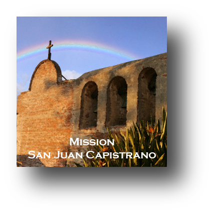 Small square ceramic tile with magnet and an original image of a rainbow over Mission San Juan Capistrano (San Juan Capistrano)