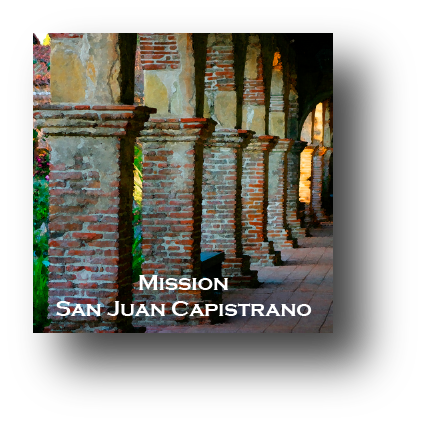 Small square ceramic tile with magnet and an original image of the Arches at Mission San Juan Capistrano (San Juan Capistrano)