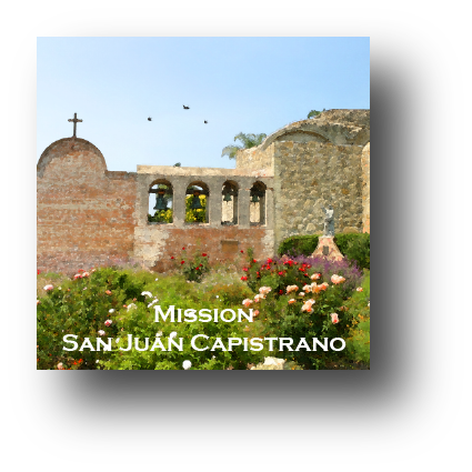 Small square ceramic tile with magnet and an original image of the Bell Wall at Mission San Juan Capistrano (San Juan Capistrano)