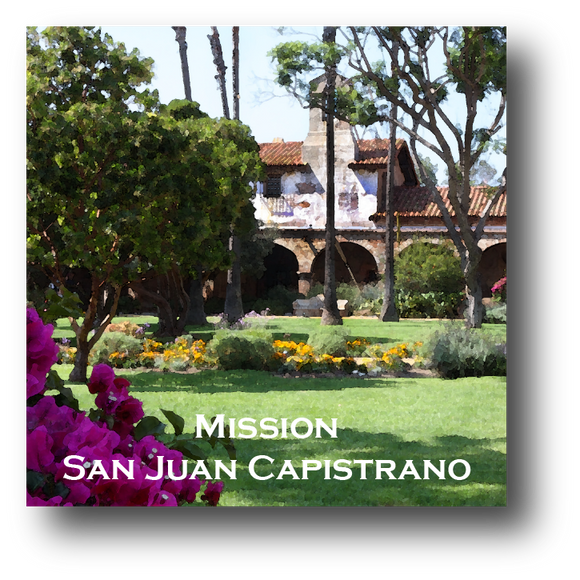 Large square ceramic tile with magnet and an original image of the Gardens at Mission San Juan Capistrano (San Juan Capistrano)