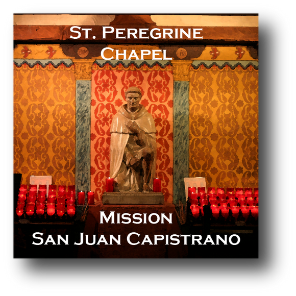 Large square ceramic tile with magnet and an original image of the St. Peregrine Chapel at Mission San Juan Capistrano (San Juan Capistrano)