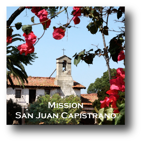 Large square ceramic tile with magnet and an original image of the Bell Tower at Mission San Juan Capistrano (San Juan Capistrano)