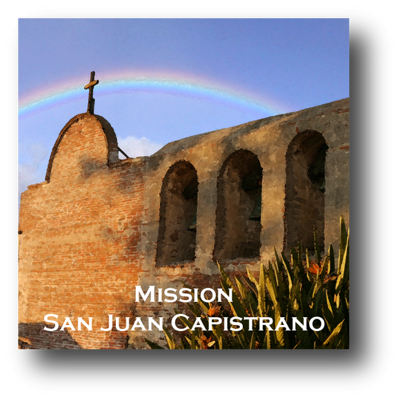Large square ceramic tile with magnet and an original image of a rainbow over Mission San Juan Capistrano (San Juan Capistrano)