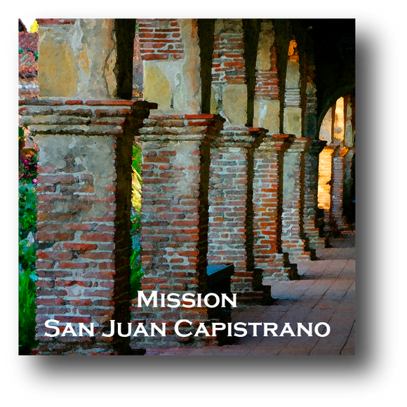 Large square ceramic tile with magnet and an original image of the Arches at Mission San Juan Capistrano (San Juan Capistrano)