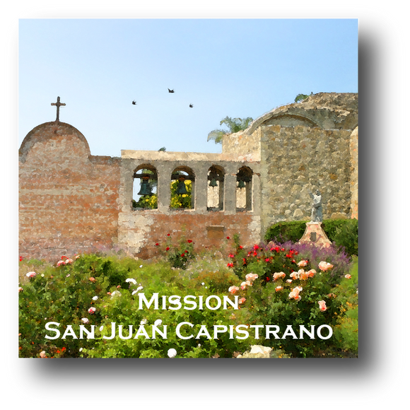 Large square ceramic tile with magnet and an original image of the Bell Wall at Mission San Juan Capistrano (San Juan Capistrano)