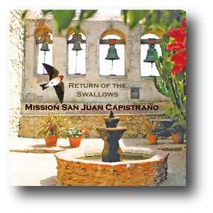 Large square ceramic tile with magnet and an original image of the Scared Garden at Mission San Juan Capistrano (San Juan Capistrano)
