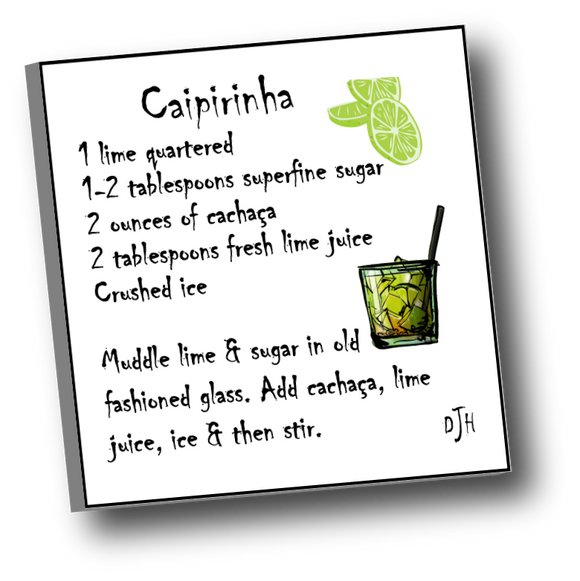 Large square ceramic tile with magnet featuring a recipe for a Caipirinha (National drink of Brazil)