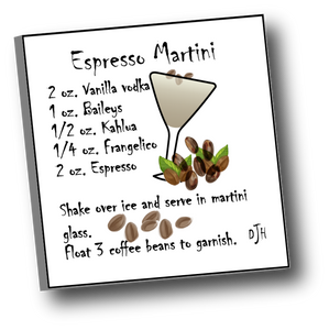 Large square ceramic tile with magnet featuring a recipe for an Espresso Martini