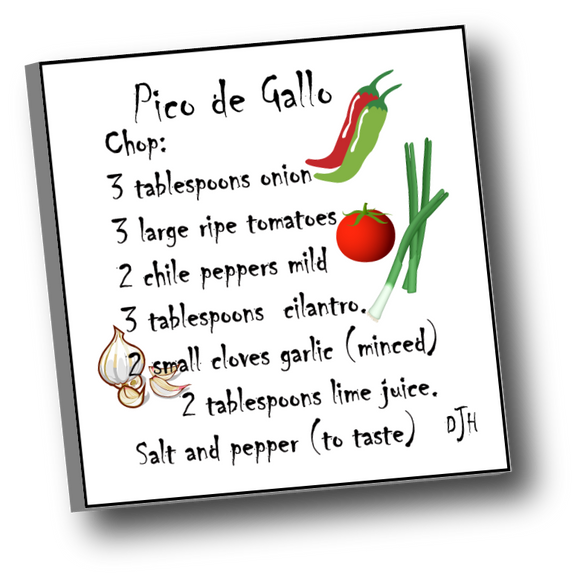 Large square ceramic tile with magnet featuring a recipe for Pico de Gallo
