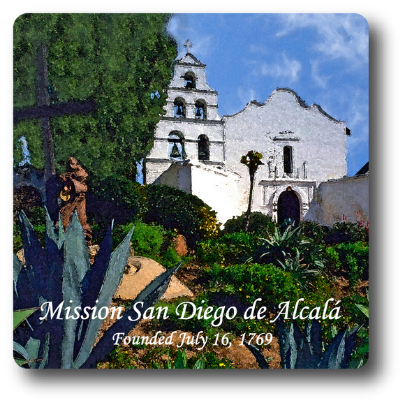 Square Aluminum Magnet with rounded corners and an original image of the Mission San Diego de Alcala (San Diego)