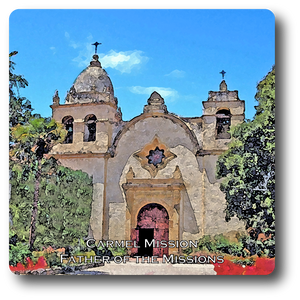 Square Aluminum Magnet with rounded corners and an original image of the Mission San Carlos Borromeo de Carmelo (Carmel)