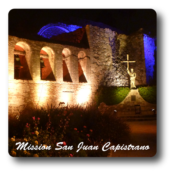 Square Aluminum Magnet with rounded corners and an original image of the Bell Wall at Night at Mission San Juan Capistrano (San Juan Capistrano)