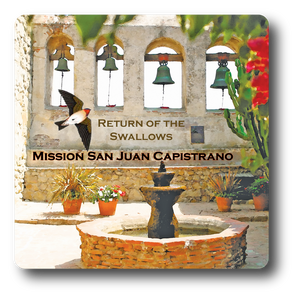Square Aluminum Magnet with rounded corners and an original image of the Sacred Garden at Mission San Juan Capistrano (San Juan Capistrano)