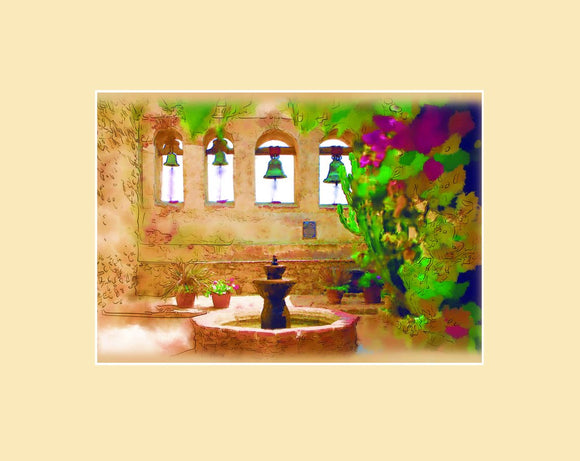 Matted magnet with an original image of the Sacred Garden at Mission San Juan Capistrano (San Juan Capistrano) with an ivory colored matte.