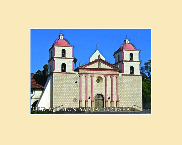 Matted magnet with an original image of Mission Santa Barbara (Santa Barbara) and an ivory matte.