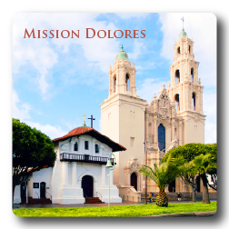 Square Aluminum Magnet with rounded corners and an original image of the Mission San Francisco de Asis (Dolores).