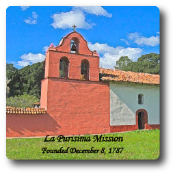 Square Aluminum Magnet with rounded corners and an original image of the Mission La Purisima Concepcion (La Purisima).