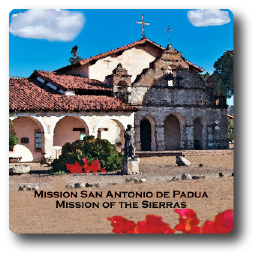 Square Aluminum Magnet with rounded corners and an original image of the Mission San Antonio de Padua (San Antonio)