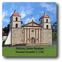 Square Aluminum Magnet with rounded corners and an original image of the Mission Santa Barbara.