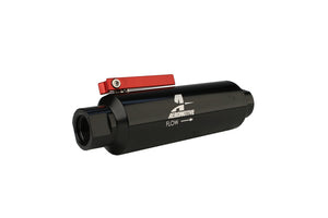 Aeromotive In-Line AN-10 Filter w/ Shutoff Valve 100 Micron SS Element - Black Anodize Finish
