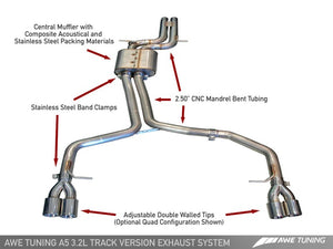 AWE Tuning Audi B8 A5 3.2L Track Edition Exhaust System - Quad 90mm Slash Cut Silver Tips