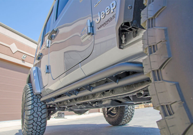 N-Fab RKR Rails 2019 Jeep Wrangler JT 4DR Truck Full Length - Tex. Black - 1.75in