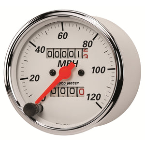 Autometer Arctic White 3-1/8in 0-120 MPH Mechanical Speedometer Gauge