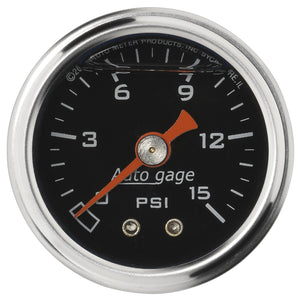 Autometer AutoGage 1.5in Liquid Filled Mechanical 0-15 PSI Fuel Pressure Gauge - Black