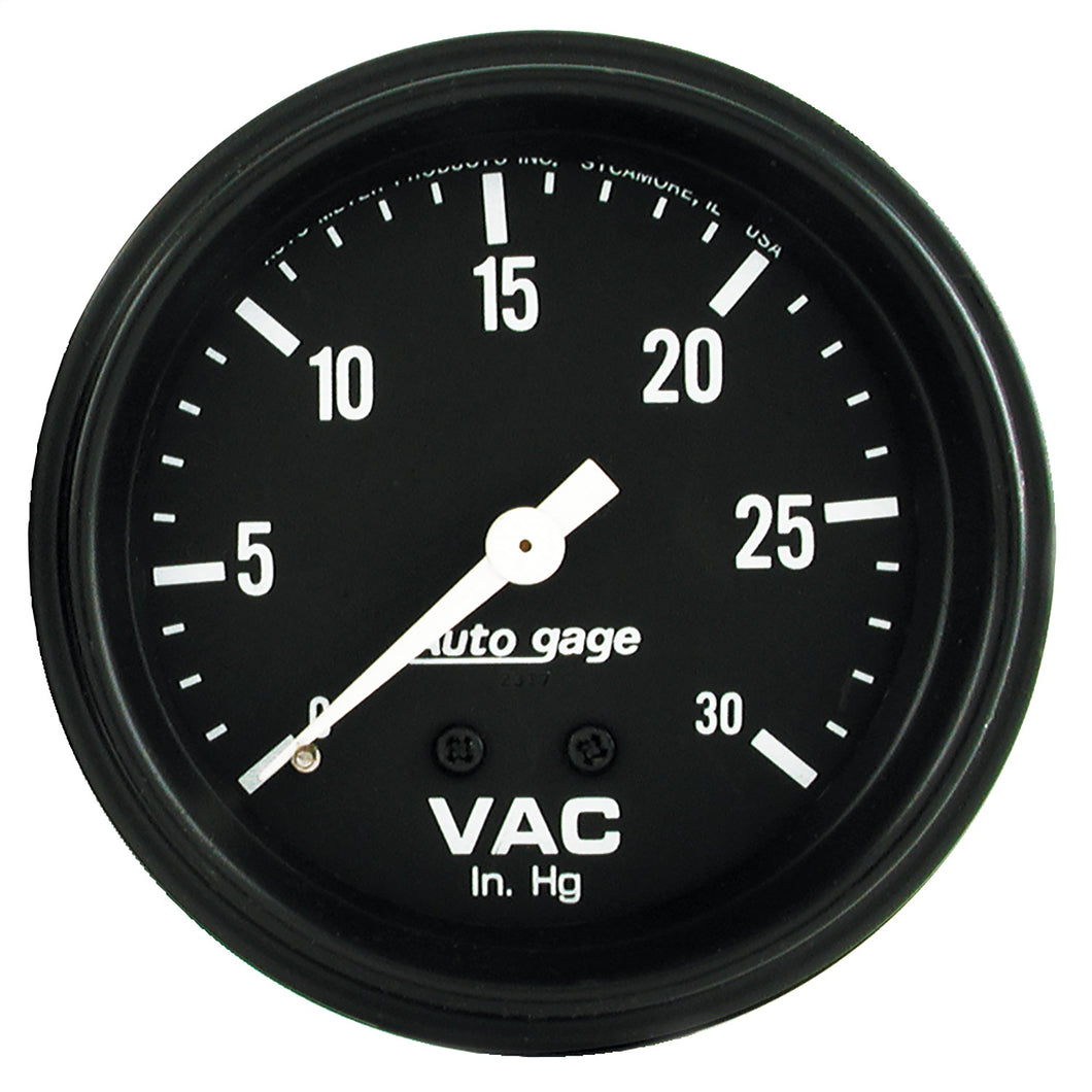 Autometer AutoGage 2-5/8in. / 0-30 IN HG / Mechanical Full Sweep Vacuum Gauge