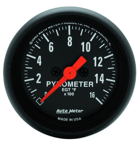 Autometer Z-Series 52mm 0-1600 Def F Full Sweep Electronic Pyrometer Gauge