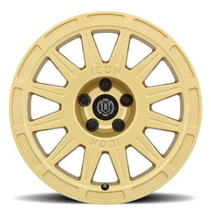 ICON Ricochet 15x7 5x100 15mm Offset 4.6in BS 56.1mm Bore Gloss Gold Wheel