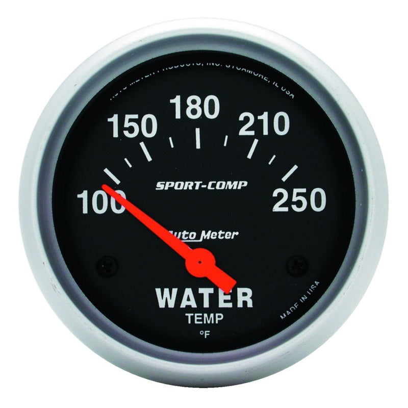 Autometer Sport-Comp 66.7mm 100-250 Deg F Short Sweep Electronic Water Temperature Gauge