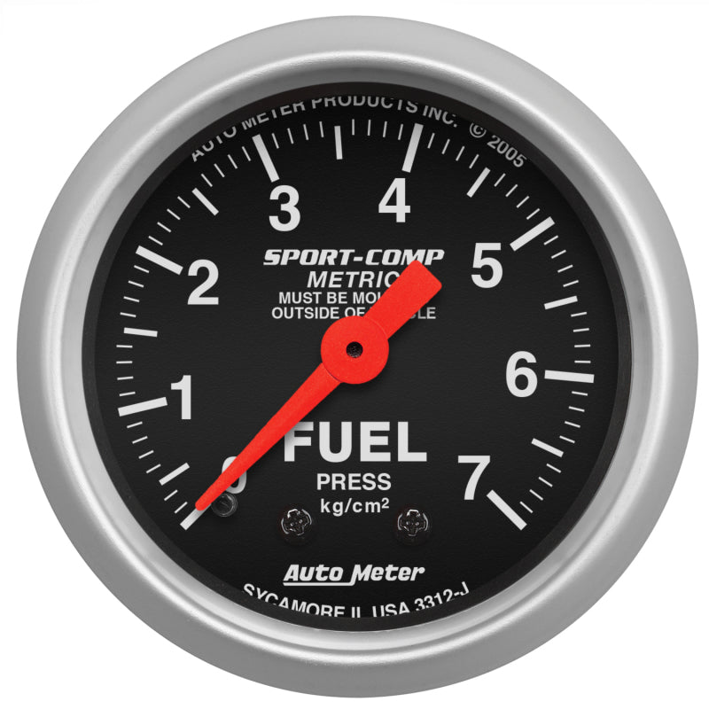 Autometer Sport-Comp 52mm METRIC Fuel Pressure Mechanical Gauge